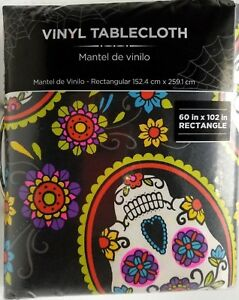 60x102-Skull-Vinyl-Tablecloth-Day-of-the-Dead-Dia-De-Los-Muertos