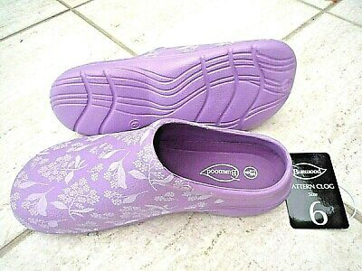 New Burwood Lilac Garden Clogs With Flower Patterns Made By Briers. size 6 Uk
