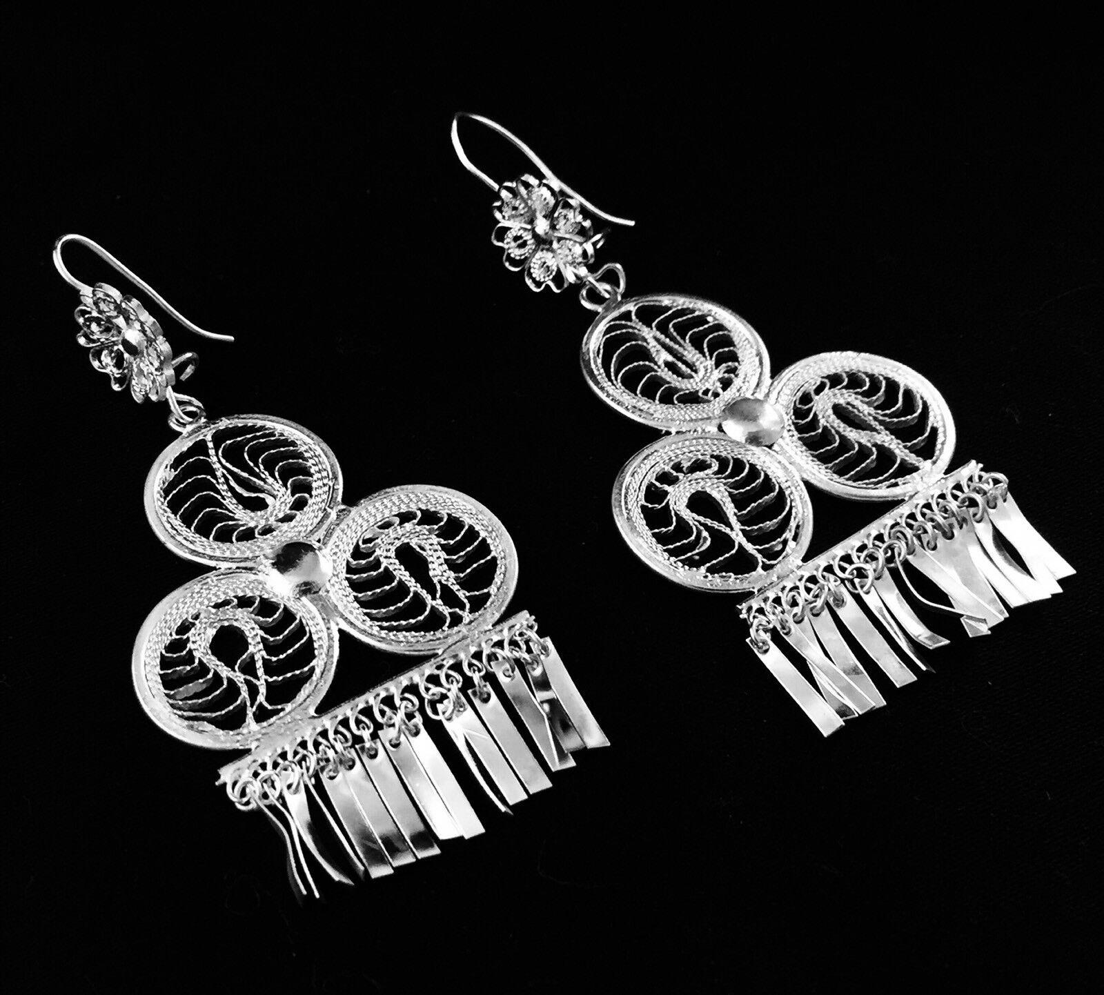 Medium Club Shaped Oaxaca Filigree Earrings Chandelier Straight Tassels 004