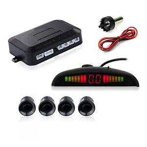 Car LED Reverse Parking Backup Sensor Alert System 4 Silver Sensors With Drill