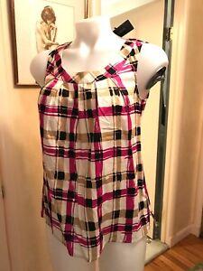 NWT-Talbots-Pink-amp-BLACK-Plaid-Scoop-Neck-Sleeveless-Shirt-Blouse-Top-4-P