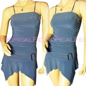 Blue Tops Sleeveless Womens Teal Top Spaghetti Studs Blouse Embellished New Long C8vxdq5nd