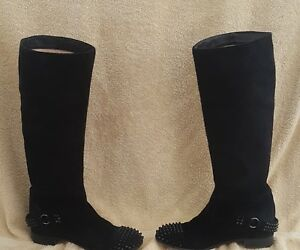 sale retailer ccf6b 4b4e1 Details about CHRISTIAN LOUBOUTIN EGOUTINA BLACK SUEDE SPIKED BOOTS