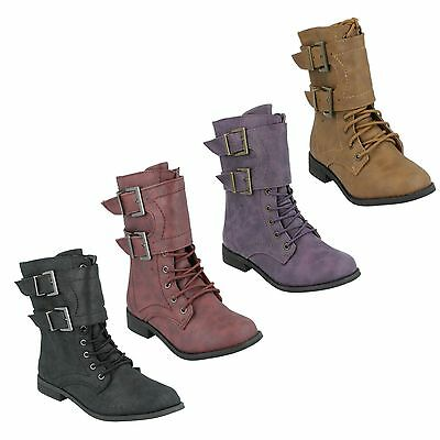 **SALE** Girls Synthetic  Lace Up and Zip Up Casual Boots Spot On H5011