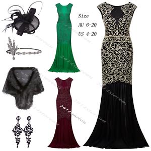 2020f115c2f 1920s Flapper Dress Vintage Gatsby Women s Mix-pattern Long Prom ...