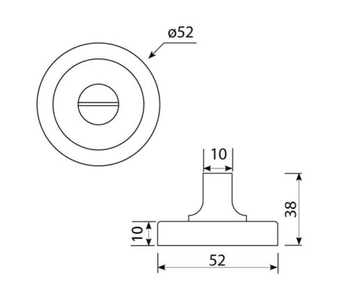 Thumb Turn Lock for Bathroom Doors Brushed Stainless Steel 52mm Diameter