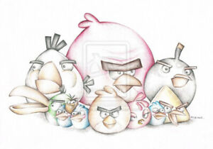 Angry Birds Cartoon Art Coloured Pencil Drawing Hq Signed A4 Print Ebay