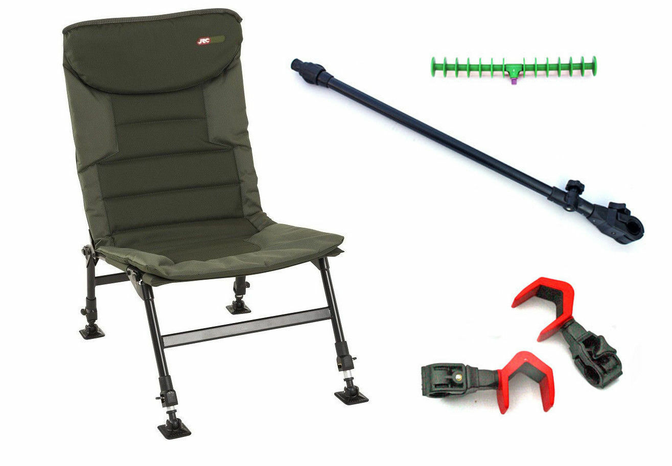 JRC Folding Carp Fishing Chair Mud Feet &  Adjustable Legs with feeder arm Rests