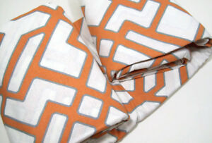 Pottery Barn Gray Orange Multi Colors Shelby Linen Cotton