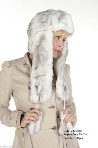New Women/'s Diamante White// Grey Ear Lap Fur Hat For Winter Ladies Winter Hats