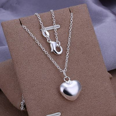 """*UK* 925 SILVER PLT CHUNKY LOVE HEART PENDANT NECKLACE 18"""" CHAIN LADIES GIFT BAE"""