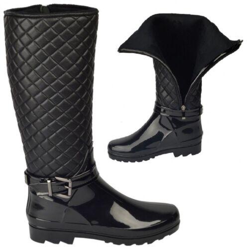 chaudes Ladies Noir Taille Boucle Wellies d'hiver Quilted Patent Zip 8 Up Womans Bottes 3 Bq8wgdgOx
