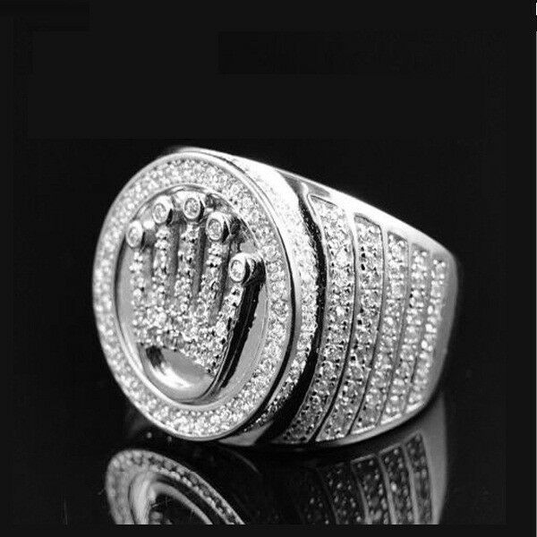 Men king crown 3ct round diamond ring royal solitaire gents 14k white gold over