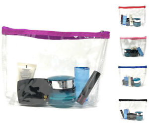TSA-Friendly-Clear-Zippered-Pouch-Bag-Toiletry-Cosmetics-Travel-Airport-Security