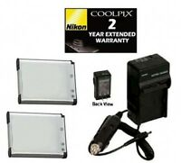 2 Batteries + Charger + Warranty For Nikon S100 S3100 S3300 S4100 S4300