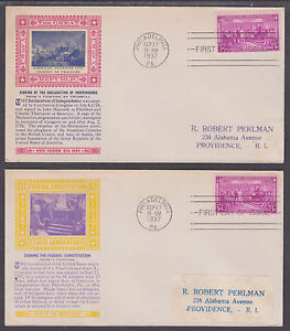 US-Planty-798-17a-b-FDCs-1937-Constitution-Sesquicentennial-diff-Laird-Cachets
