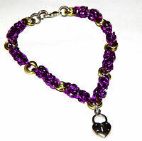Violet Byzantine & Mobius Chain Mail (chainmaille) Bracelet With Heart Lock