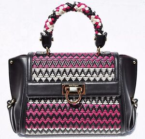 3096809d06ab Image is loading Salvatore-Ferragamo-Chevron-Sofia-Woven-Leather-Satchel -Multi-