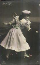 Actress Rosa De Orth Playing Tennis c1910 Tinted Real Photo Postcard myn