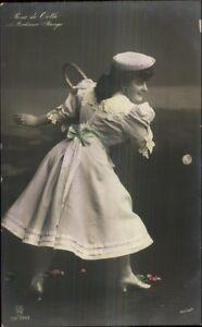 Actress-Rosa-De-Orth-Playing-Tennis-c1910-Tinted-Real-Photo-Postcard-myn