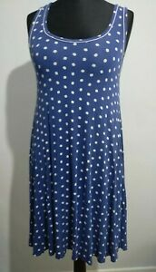 Seafolly-Australia-blau-weiss-Polka-Dot-Punkte-Kleid-Groesse-M-Weste-Style-Flare