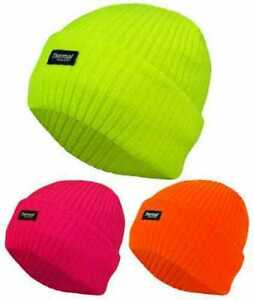 e7ea994f953 Unisex Neon Thermal Fully Lined Insulated Hats HI VIS Winter Beanie ...
