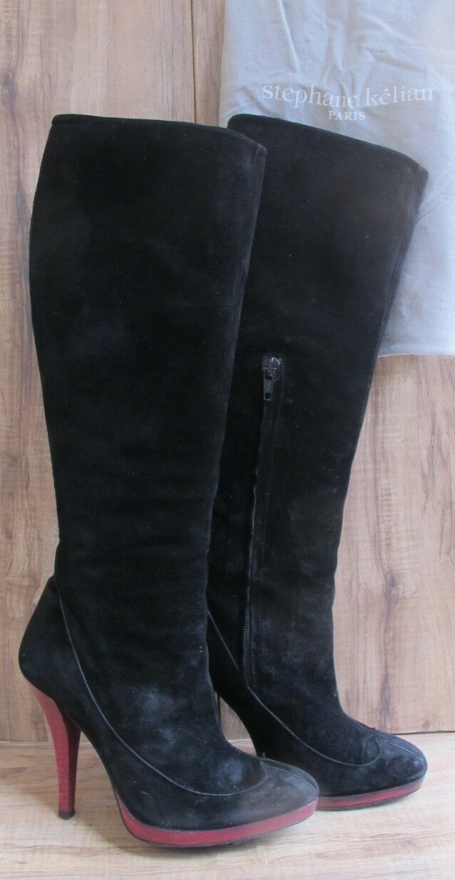 STEPHANE KELIAN Woman Shoes Boots Tall Knee High Black Suede Pink Heel SZ 4M