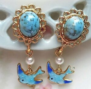 #1565B Vintage Bluebird Earrings Guilloche Enamel Gold Plated Dangle Bird Matrix