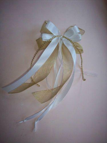 10 Antenas Bucle Bucle Corinna 2 Oro Blanco Boda St/1,20 €-fe Schleife Corinna2 Gold Weiss Hochzeit St / 1,20 €
