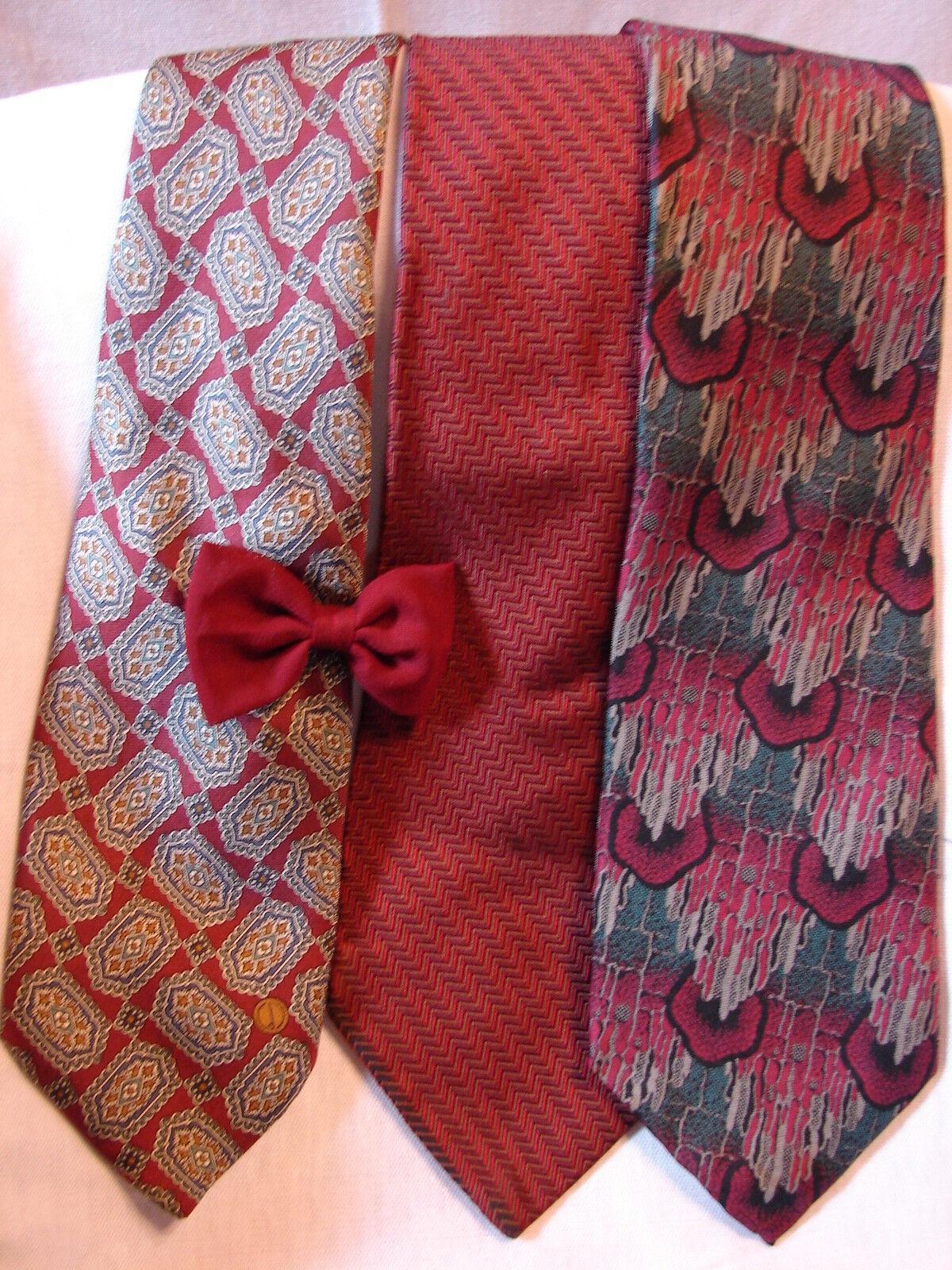 #81 Menge Von 3 Designer Weinrot 100% Seide Krawatte Retro dunhill & Roundtree &