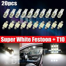 20X 31MM Festoon+T10 LED License plate Map/Dome Interior Light Bulbs White