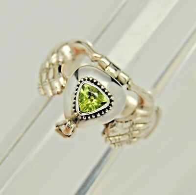 925 Sterling Silver Claddagh and Peridot Cremation Urn Ring || Size 6.5