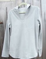 Sonoma Hooded Microfleece Pajama Shirt Long Sleeve Top Misses L Tall Gray