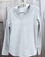 Sonoma Hooded Microfleece Pajama Shirt Long Sleeve Top Misses L Tall Gray