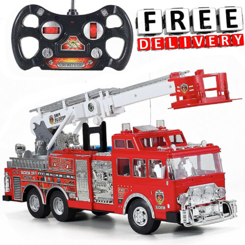 RC Fire Truck Toy Big Large Remote Control Siren Lights Ladder Red Boys Fun Gift