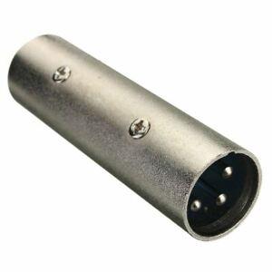 1-PZ-3-Pin-Xlr-Spina-Maschio-Accoppiatore-Gender-Changer-Adattatore-microfono-audio-da-DJ-5J4