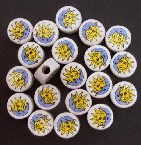 G39 20 Peruvian 7 mm Céramique Disque Perles soleil /& lune