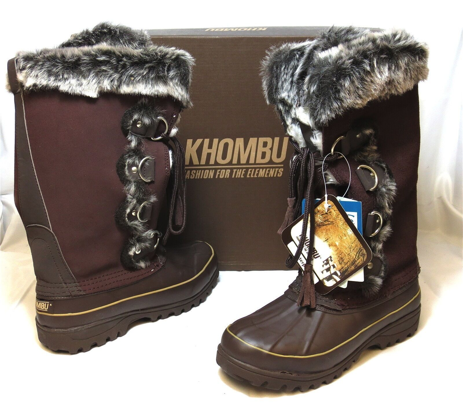 KHOMBU Women's Arctic Winter Snow Boot Dark Brown NIB Warm Lace Tie faux fur NEW