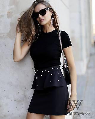 Kleidung & Accessoires MüHsam Zara Mini Skirt With Faux Pearls Size Medium Bnwt SchöNer Auftritt Röcke