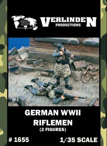 2 Resin Figures Kit #1655 Verlinden 1:35 WWII German Riflemen