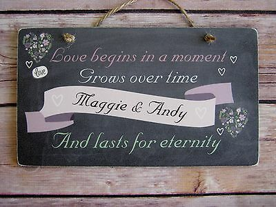 Handmade Personalised Wedding/Anniversary/Engagement Plaque Rustic Chalkboard