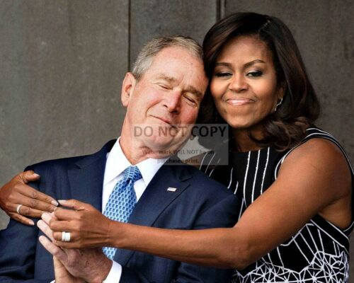 8X10 PHOTO BUSH FIRST LADY MICHELLE OBAMA HUGS GEORGE W OP-627