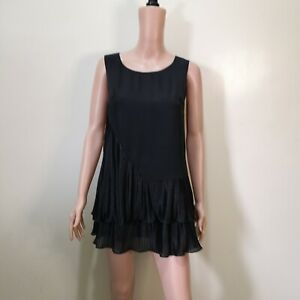 C818 - Angel Black Sleveless Long Top/ Short Dress with Pleats Accent