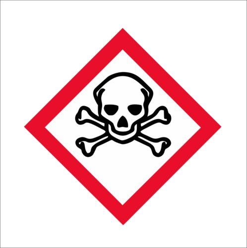GHS Toxic Skull Skull and Crossbones Vinyl Car Door Window Bumper Sticker Decal
