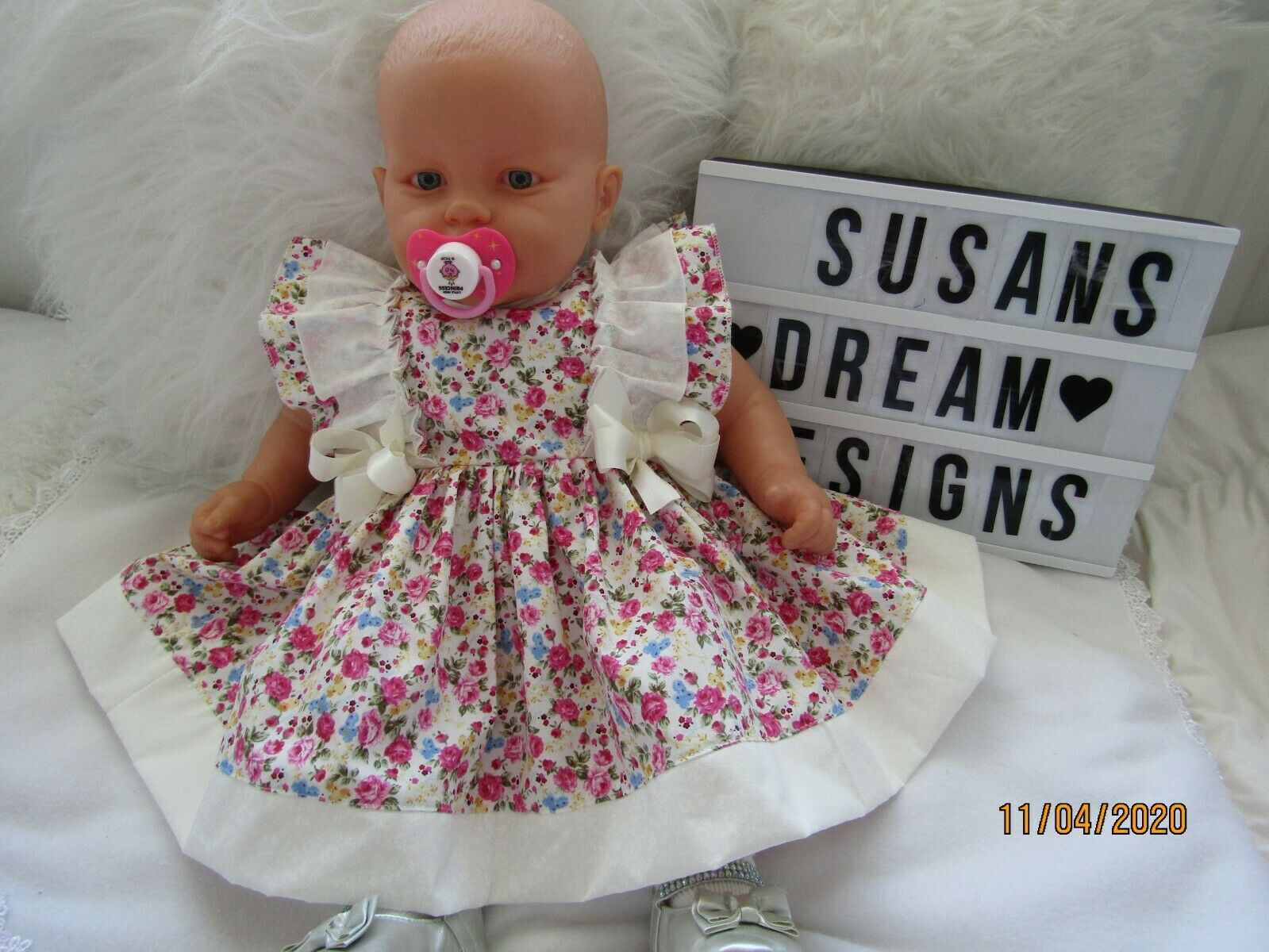 CLOTHES FOR BABY 6-12 mths REBORN 24-IN FRILLY COTTON DRESS NEW