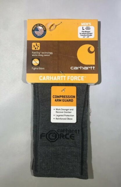 Carhartt Men/'s Force Active Compression Work Sleeve Arm Guard Gray Size L NEW
