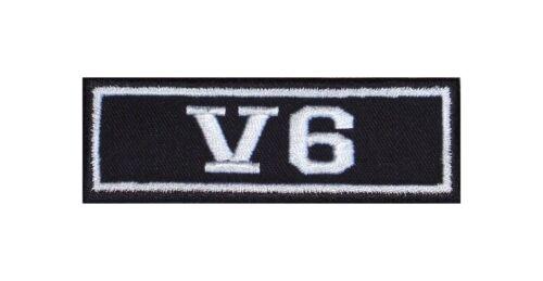 V6 Biker Patches Aufnäher Motorrad MC Rocker Heavy Kutte Power Vest Engine Motor