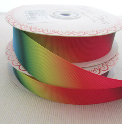 width choice Rainbow ombre grosgrain craft /& sewing ribbon per 2m
