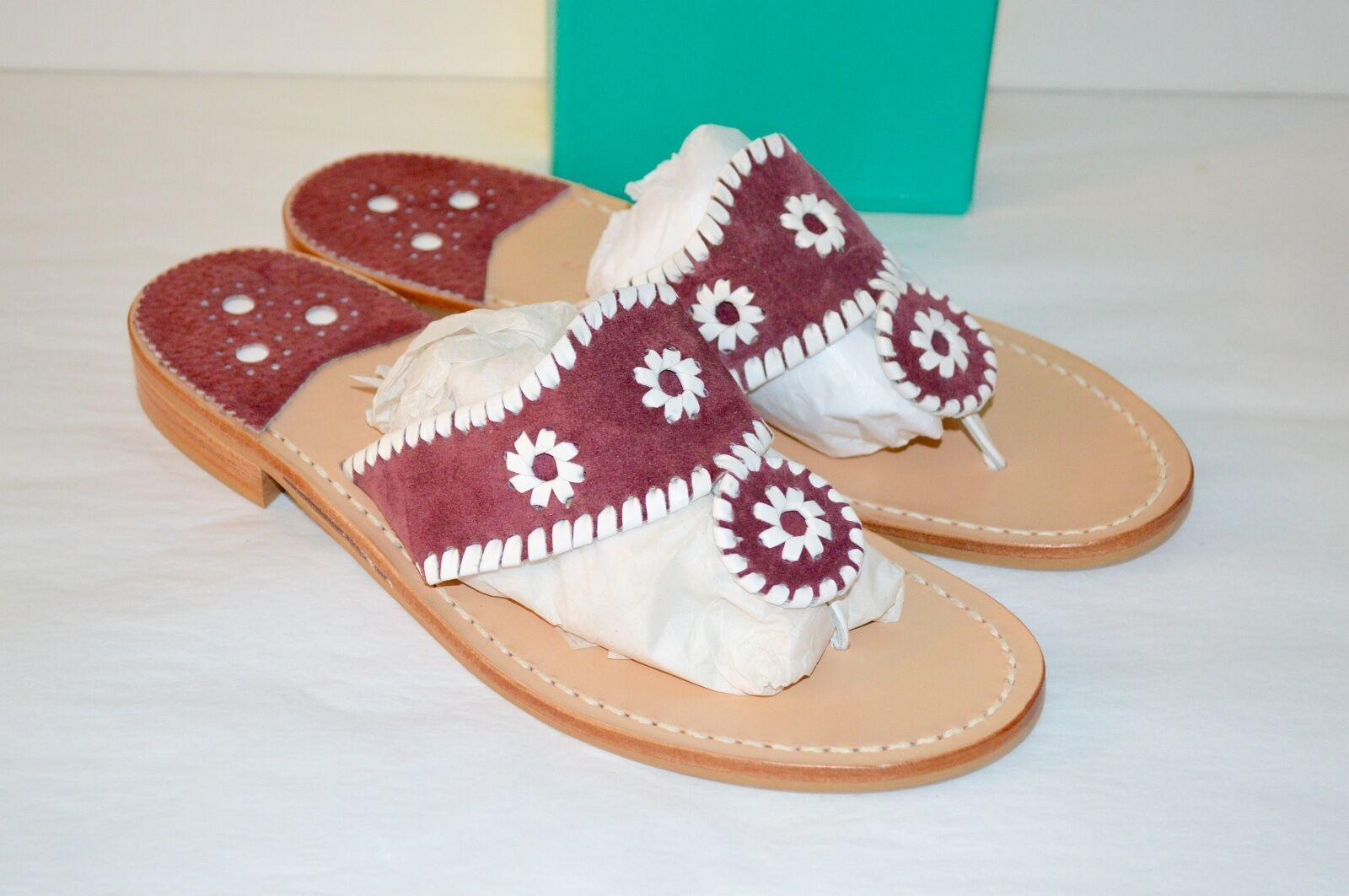 New  118 Jack Rogers Navajo Hamptons rosso rosso rosso bianca Suede Sandal Classic RARE colore 915695