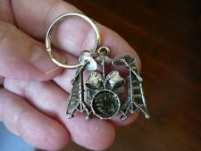 (M315-D) classic Ludwig DRUM SET KEY CHAIN SILVER-nickel RING keychain drums